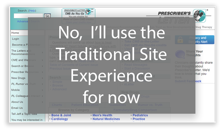Prescriber's Letter - Choose Traditional Experience