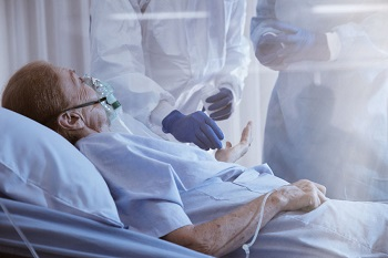 Elderly patient in an intensive care unit